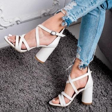 Limoya  Beyaz Oval Topuklu Sandalet Beyaz